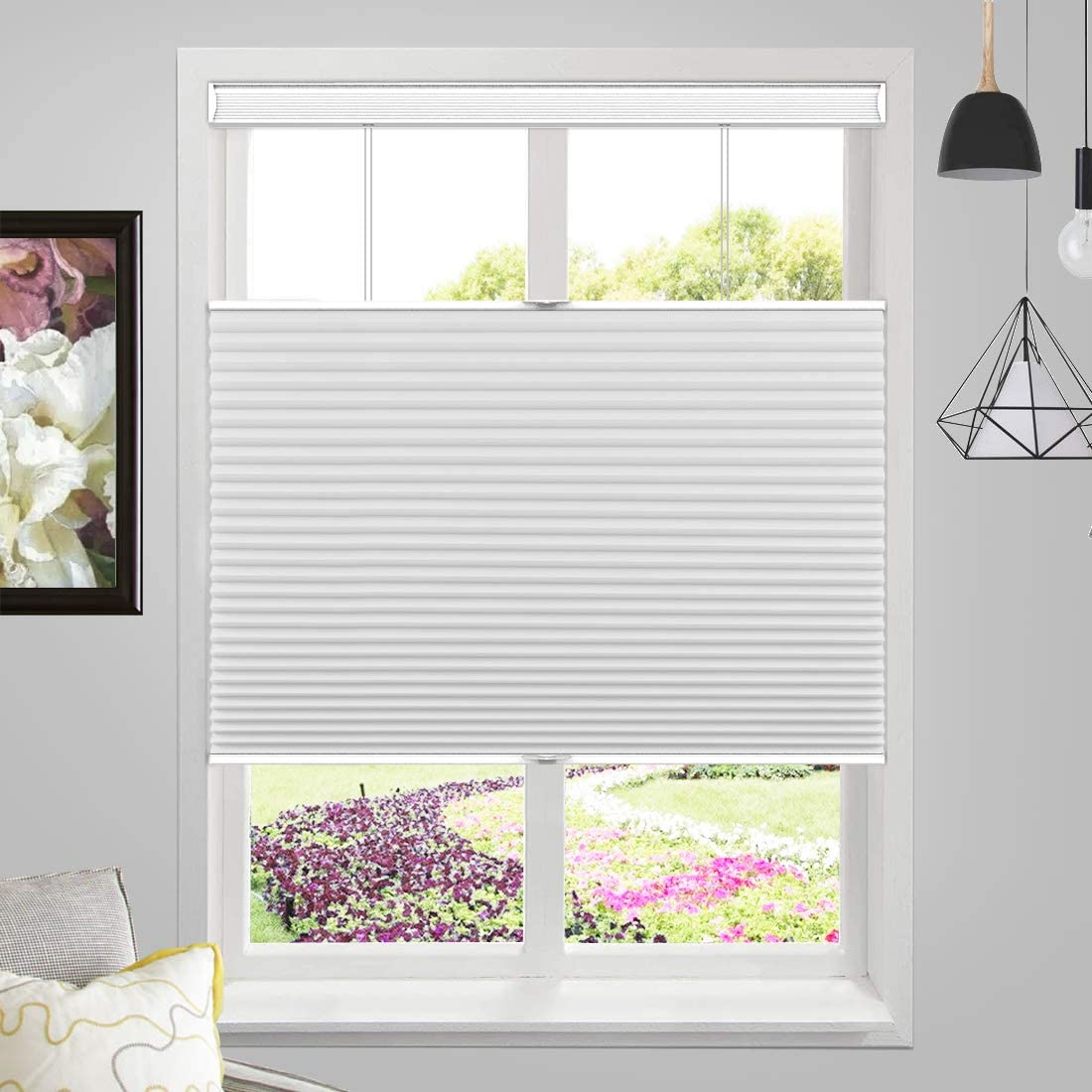 MiLin Cordless Blackout Cellular Honeycomb Shades Top Down Bottom Up Fast Delivery Bedroom Kitchen Window Blinds and Shades Custom Cut to Size Frost White 19 1//2 W x 72 H