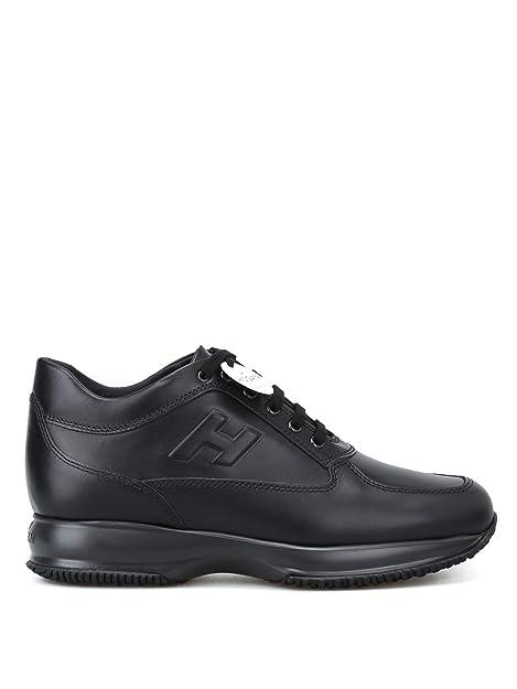 5c6d097ba92d5 Hogan Sneaker Nere Interactive in Pelle HXM00N09042KLAB999 Nero Uomo ...