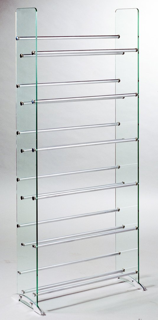 amazoncom transdeco glass multimedia cddvd rack clear kitchen u0026 dining
