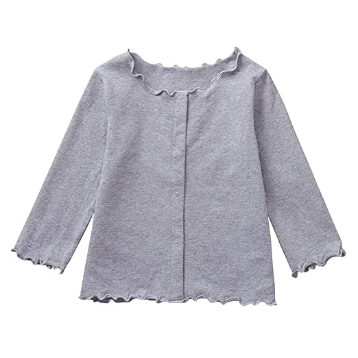 1df438f4d YIYEZI Toddler Bsby Girls Solid Color Long Sleeves Cardigan Wavy Edge  Jacket Clothes (2-