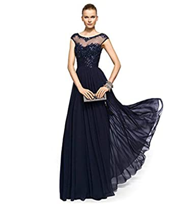 atopdress 011 Ball prom sequined gown evening dress party wear Bridemaids (12, Blue)