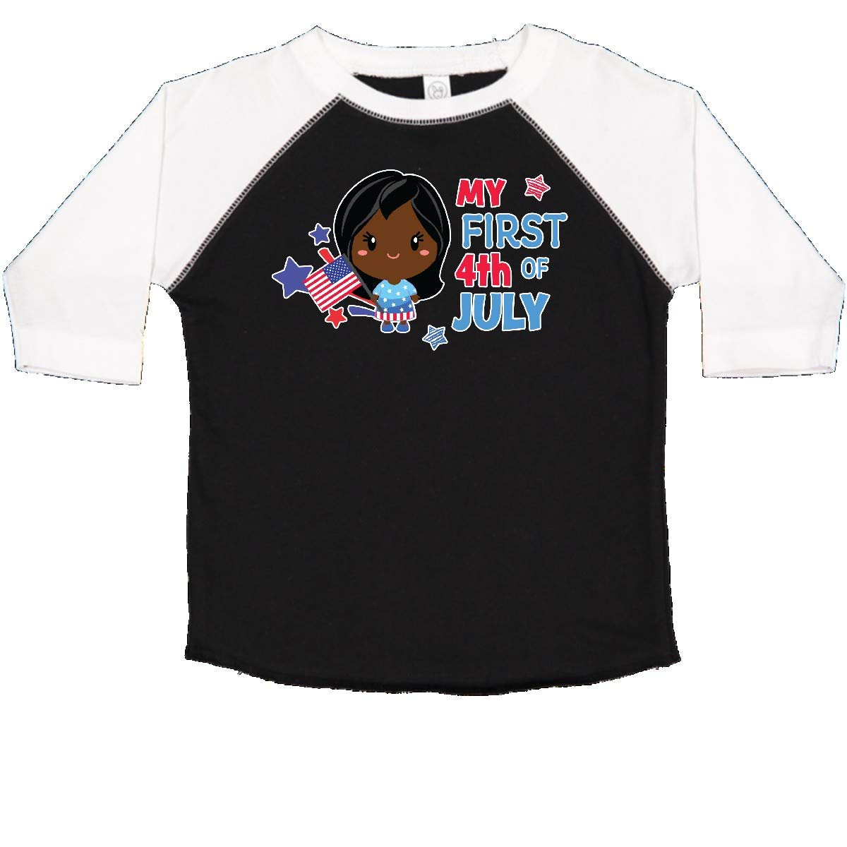 inktastic My First 4th of July with Black Haired Girl Stars and Toddler T-Shirt