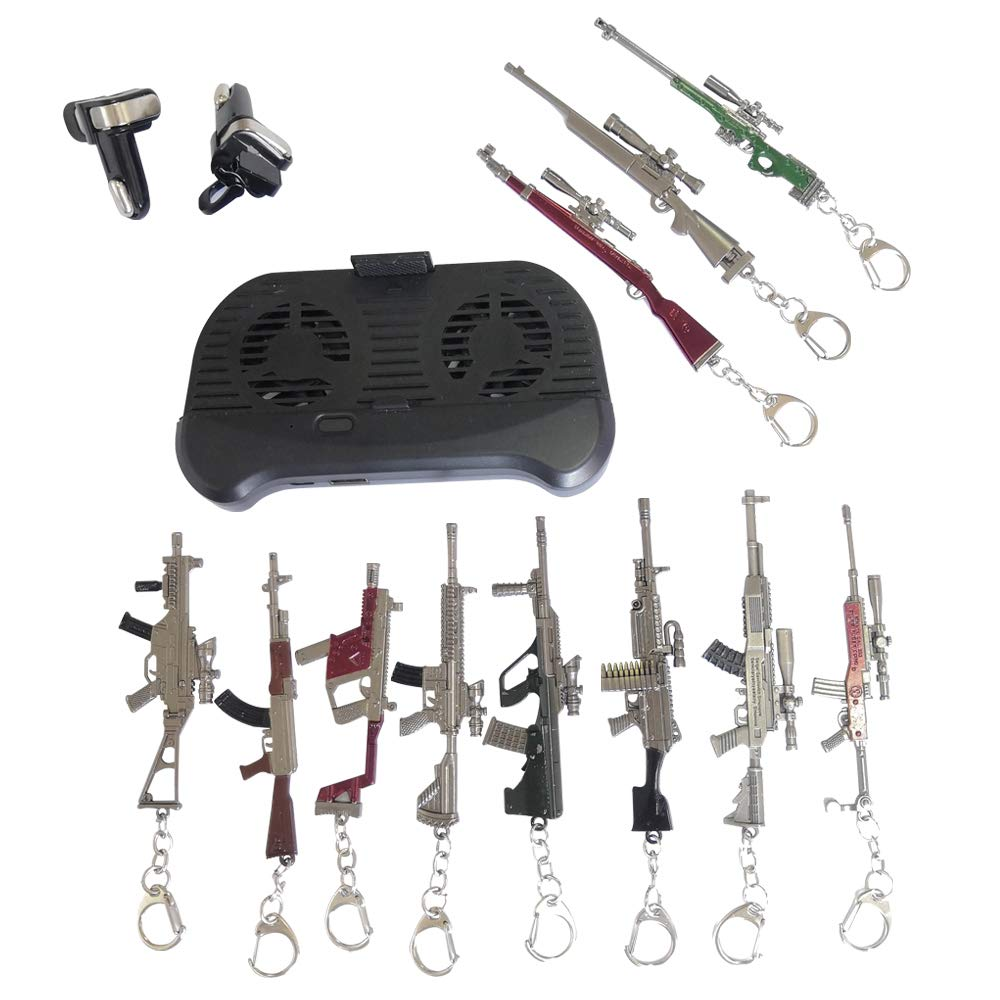 Pubg Fort-Nite Mobile Triggers Cellphone Radiator Cooler with Power Bank 11pcs Gun Keychains Shotgun Assault Rifle SMG Light Machine Gun Heavy Sniper Gun Airdrop Weapons (Pubg Gun Keychain+)