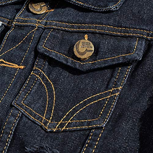 Kairuun Mezclilla Negro Abotonada Hombres Gran Sin Chaqueta Casual Jeans Mangas Tamaño Chaleco de Chaqueta de de wrrdIOZq
