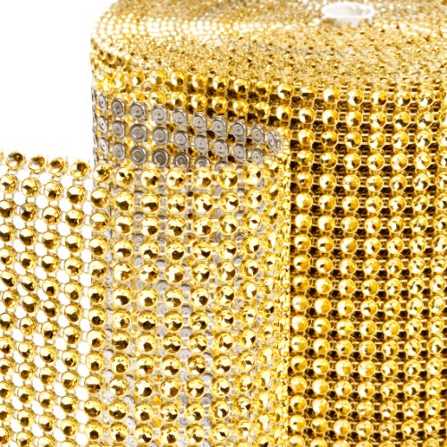 Dress My Cupcake Diamond Rhinestone Wrap, 10-Yard, Gold (Ribbon Cupcake Wrapper)