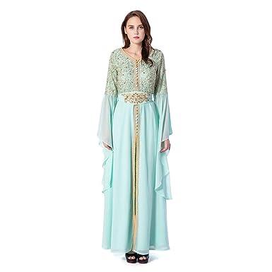 25093cfd430f ORIACICI GODDESS Women's Elegant Gold Sequin Caftan Irregular Sleeve Formal  Long Maxi Dress (Small,