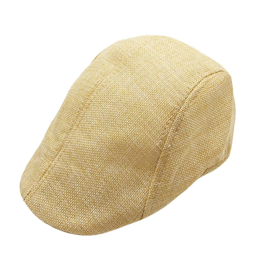 Men Summer Breathable Beret Flat Cap Visor Hat Sun Cap Casual Mesh Solid Low Profile Hat Vintage Trucker Cap (Beige)