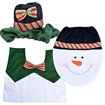Christmas Decorations Santa Toilet Seat Cover Bathroom Rug Set Snowman