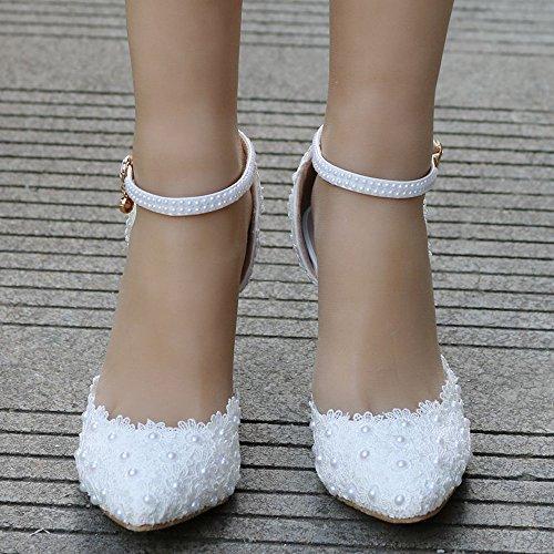 Chaussures Polyuréthane Printemps Confort Nouveauté en Mariage Bout Aiguille Perle RSF Femme Talon Shoes White de Wedding Pointu Fleur Satin Chaussures Automne BgWzqSC