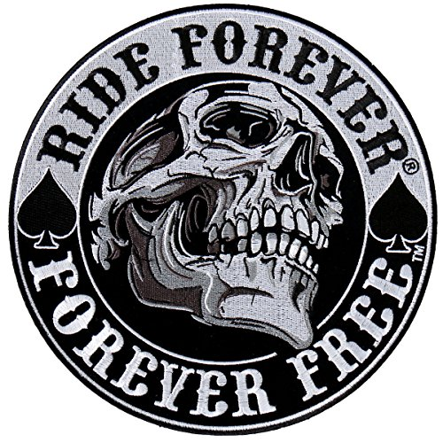 (Hot Leathers, SPADE SKULL RIDE, EMBROIDERED Iron-On / Saw-On Rayon PATCH - 9