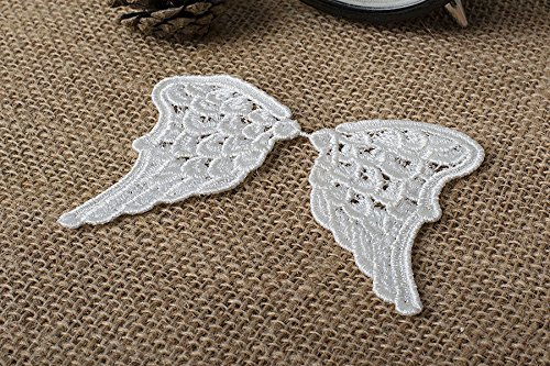 White Loop Fringe - 4 Pairs Sewing Craft Fabric Angel Wings Lace Appliques Vintage Off White Venice Lace Embroidery 3.14