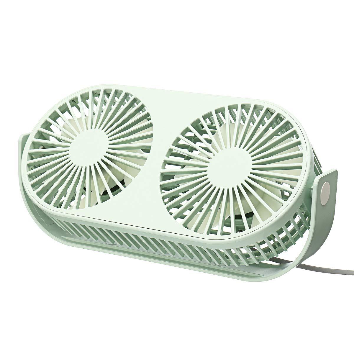 MASUNN Mini ventilador de mesa de escritorio Ventilador de enfriamiento de aire de enfriamiento portátil Ventilador silencioso de doble cabezal 3 velocidades - Rosa