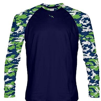 fd555de29fd Amazon.com: LightningWear Youth Neon Green Navy Blue Long Sleeve Camouflage  Shirts - Youth Camouflage Shirts - Adult Camo Shirts XXXXX-Small, ...