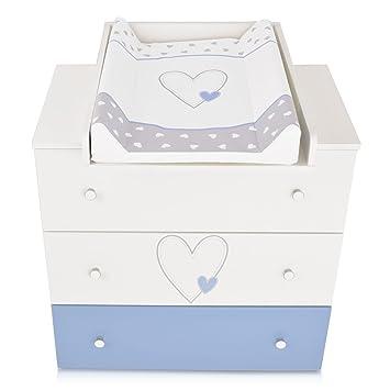 Commode à langer bébé enfant Table à langer + Matelas à langer amovible - 3  tiroirs Cœur bleu Matériel de Haute Qualité