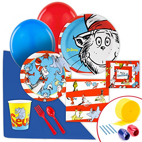 Dr Seuss Party Supplies - Value Party Pack Bundle (Cat In The Hat Thing 1)