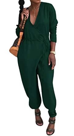 e2b97395b777 MAXIMGR Women s Casual Solid Color V Neck Long Sleeve Romper Wide Leg Harem Jumpsuit  Romper Tie