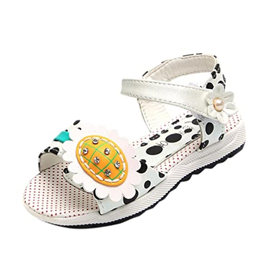 d16388e12ce FORESTIME_baby shoes Cute Girls Kids Sunflower Strap Flat Sandals Summer  Beach Holiday Shoes (0-
