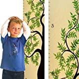 Growth Chart Art | Tree of Life Wooden Growth Chart for Boys & Girls | Wood Height Chart | Green Leaf Tree of Life WIDE VERSION