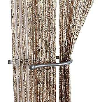 Charming ZideTang Encryption Glitter Flat String Door Curtain Divider Tassel Panel  Color Champagne