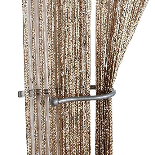 ZideTang Encryption Glitter Flat String Door Curtain Divider Tassel Panel Color Champagne