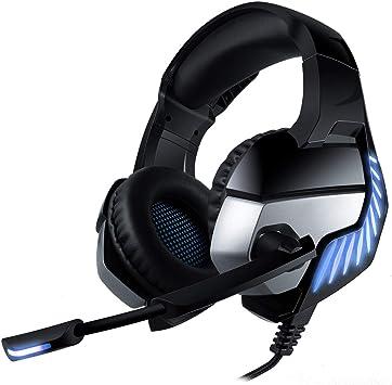 CHEREEKI Cascos Gaming Cascos para Juegos PS4, PC, Xbox One Auriculares Gaming Estéreo Ajustable Gaming con Micrófono y Control de Volumen, Bass Surround y Cancelación de Ruido (Bleu): Amazon.es: Electrónica