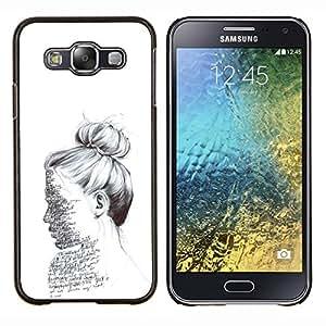 TECHCASE---Cubierta de la caja de protección para la piel dura ** Samsung Galaxy E5 E500 ** --Texto del bosquejo del lápiz Mujer Leer