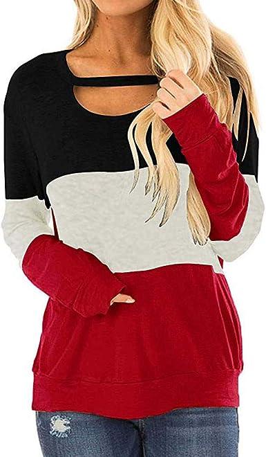 Camiseta de Manga Larga Mujer, Elegante Moda Casual Raya Patchwork Manga Larga Blusas Otoño Camisa Cuello Redondo Sudadera Tumblr Basica Camiseta Tops Fiesta Original Pullover T-Shirt vpass: Amazon.es: Ropa y accesorios
