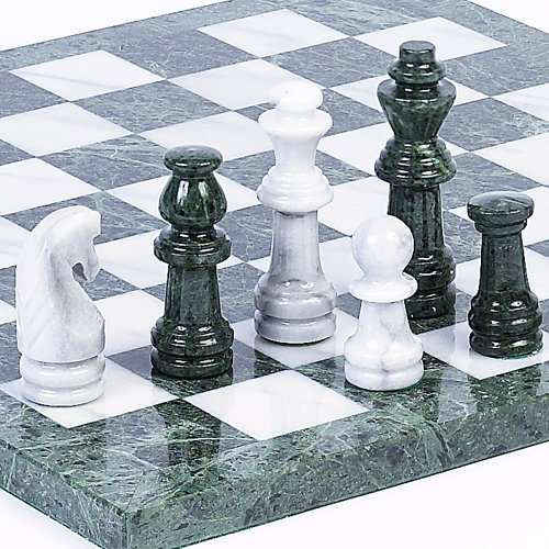 Central Park South Deluxe Marble Chess Set - Extra Large Set King Height 4 (Extra Large Marble)