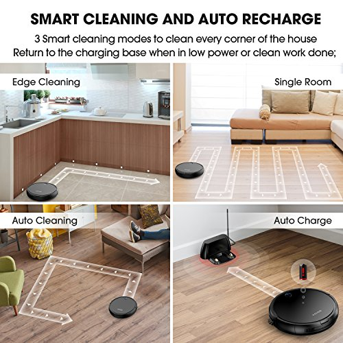 KOIOS Robot Vacuum Cleaner (Upgraded) -Strong Suction Robotic Vacuum Cleaner with Self-Charging & Drop-Sensing Technology, HEPA Filter for Pet Fur, 2600mAH Battery Long Time Floor Cleaner