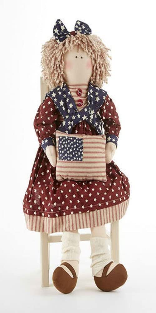 Delton Products 18 Inches Americana Doll Holding Flag Pillow Collectible Doll