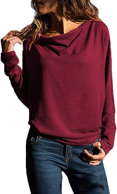 BBsmile Ropa Mujer-Blusas Mujer Tallas Grandes Manga Larga Casual Elegantes Ofertas Camisetas Mujer Basica Pull-Over Sudaderas Ajuste Flojo Tops Mujer ...