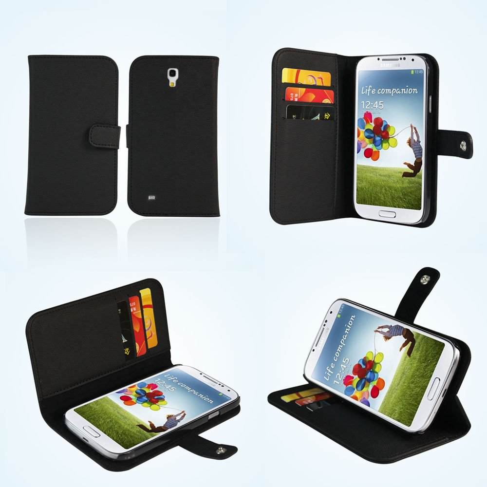 Aceabove Samsung Galaxy S4 Case Wallet Black I9500 New All Protective Stand For S Iv Siv Support Sleep Wake Up Function Cell