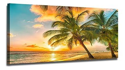 Beau Ardemy Canvas Wall Art Tropical Hawaii Island Beach Sunset Seascape Painting  Prints One Panel Large Size