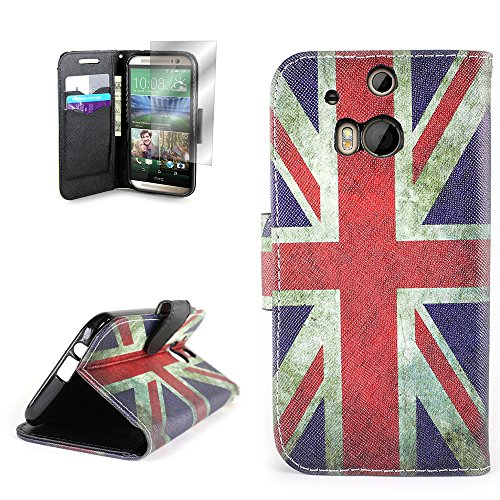 HTC One M8 Wallet Phone Case and Screen Protector (British UK Flag) | CoverON® (CarryAll) Pouch Series | Tough Textured Unique Design Protective Exterior Flip Stand Cover with Credit Card Slots and Cash Pocket for HTC One M8