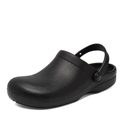 Fanture Slip Resistant Chef Clog Mule Restaurant Non Slip Work Shoes Black Men Women