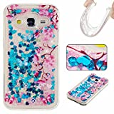 KSHOP LG Stylus 2 LS775/LG G Stylo 2 K520 case,3D Creative Luxury Bling Glitter Liquid Case Infused with Glitter Heart Moving Soft TPU Bumper PC Back Hybrid Shockproof Protection Case Cover,Blue butterfly love