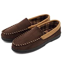 Fantiny Men's Casual Memory Foam Pile Lined Slip On Moccasin Flats Slippers Micro Suede Indoor Outdoor Rubber Sole
