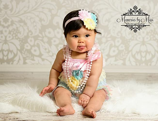 657515f0598d Image Unavailable. Image not available for. Color  3pcs Baby Girl Summer  Pastel Petti Lace Romper Set