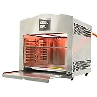Elektrogrill XXL Edelstahl silber Electro Grill Balkon 880 Grad ✔ eckig ✔ Grillen mit Gas Oberhitze ✔ für den Tisch