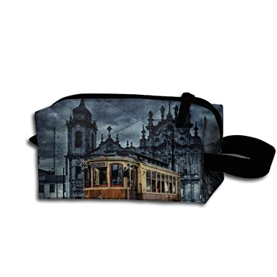 Travel Bag Antique City Train Toiletry Bag Clash Durable Zipper Wallet Makeup Handbag With Wrist Band