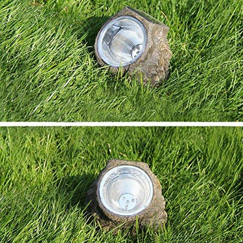 Price comparison product image Outdoor Waterproof Lighting Solar Lights Resinous Stone Shape 3 LED Garden Landscape Lamp