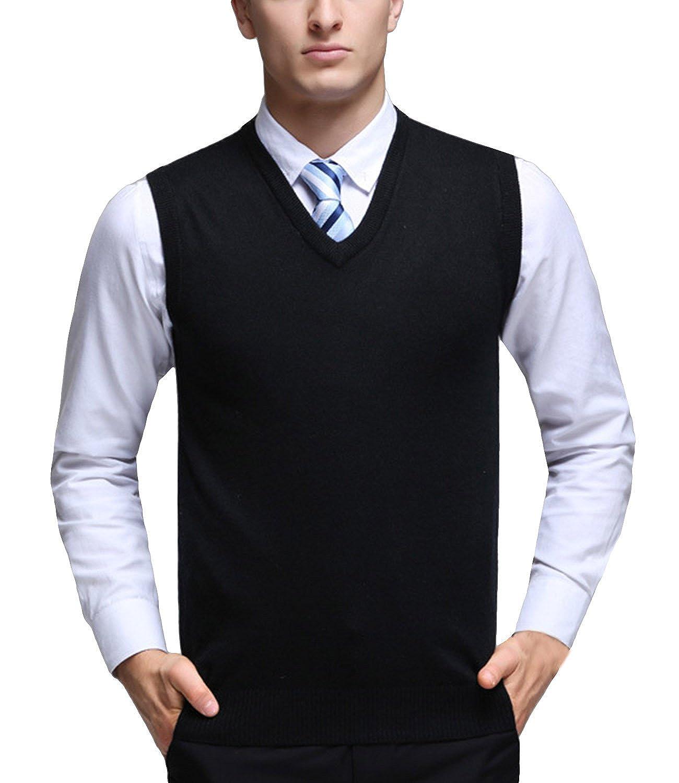 Nidicus Men Solid Wool Blend Sweater Vest Sleeveless Slim Fit ...