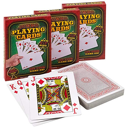 Giant Playing Card Decorations (Giant 5 x 7 Inch Playing Cards - (Pack of 3 Decks) Full Big Decks of Jumbo Poker Index Playing Card Set, Each Deck is Perfect for Casino Theme Game)