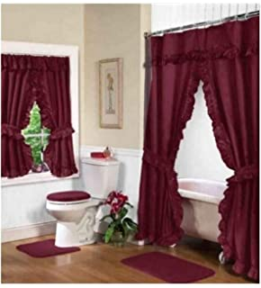 Home Fashions Burgundy Double Swag Shower And Window Curtain Set With Liner