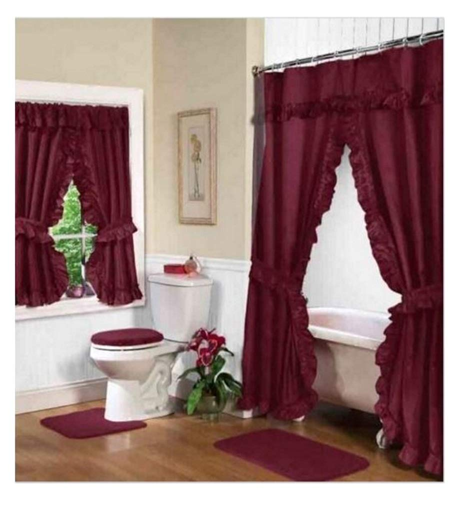 Amazon Home Fashions Burgundy Double Swag Shower And Window Curtain Set With Liner Kitchen