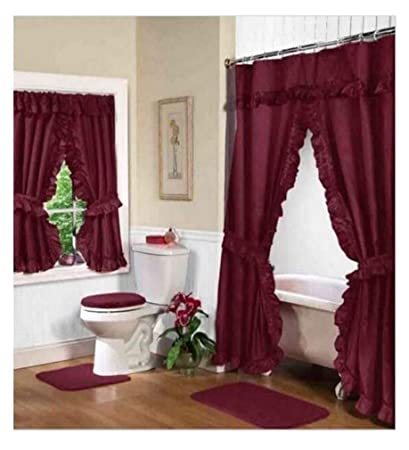 Image Unavailable Not Available For Color Home Fashions Burgundy Double Swag Shower And Window Curtain Set