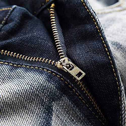 Stretch Denim Fit Jeans Uomo Streetwear Casual Vita Blauwhite Di Pantaloni Denem Da In Skinny Media Especial A Regular Estilo tTB6qT
