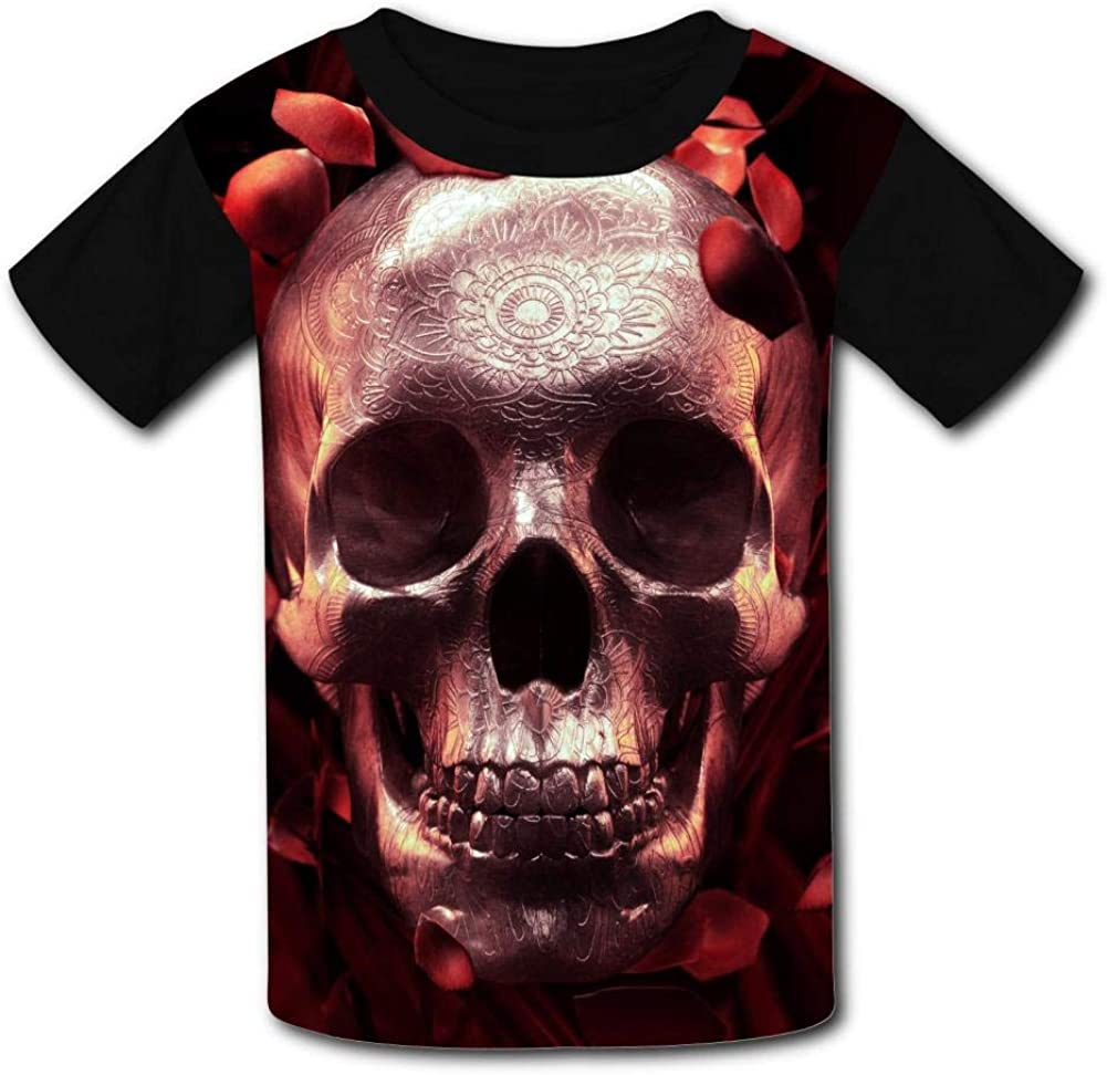 Kids//Youth Fashion Rose Petals Skull Comfortable T-Shirts Short Sleeve Children Tees Funny Creative