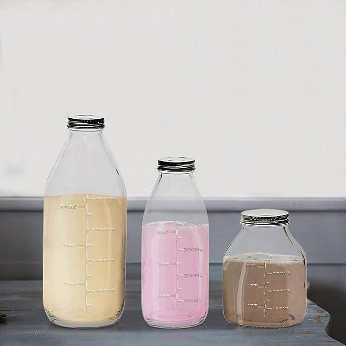 Juego de 3 botellas de leche de cristal transparente - estilo vintage con Metal con tornillo de tapa, con relieve para medir la capacidad marcas - 33 oz, ...