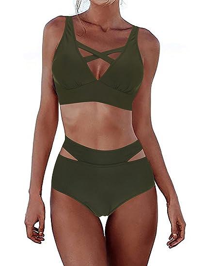 1ab607864df PARTY LADY Women's Sexy Criss Cross High Waist Bandage 2PCS Bikini Set Push  up Swim Wear Swimsuit